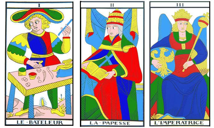Tarot, Arcana I to VII