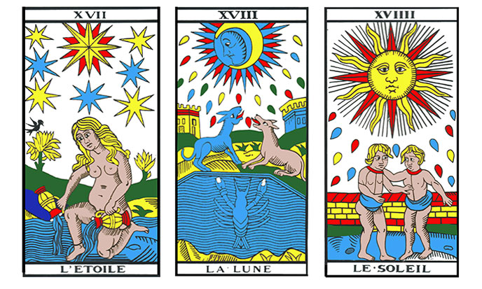 Tarot, Arcana XVII to XVIIII