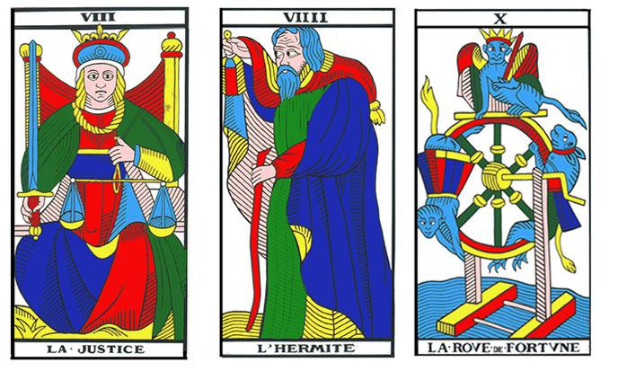 Tarot, arcana VIII to XV