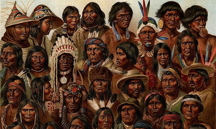 Types d'Amérindiens -- G. Mülzel - Nordisk familjebok (1904) -- Uploaded by Lokal Profil -- public domain -- https://en.wikipedia.org/wiki/Indigenous_peoples_of_the_Americas#/media/File:Amerikanska_folk,_Nordisk_familjebok.jpg
