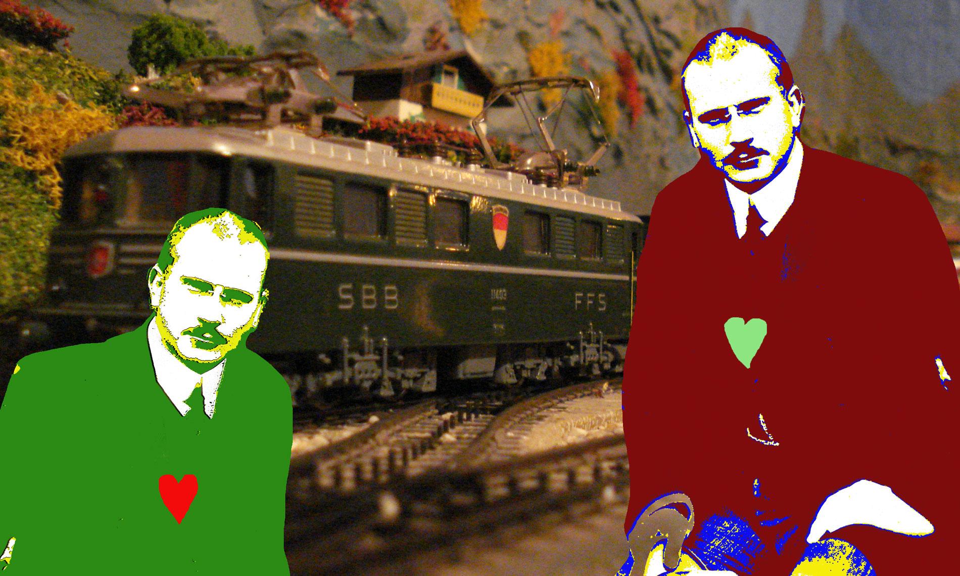 Les deux esprits de Jung, par SKI Stef Kervor Infographie pour Eden Saga, d'après : Carl-Jung-mod, Суспільне надбання (Public Domain), https://commons.wikimedia.org/w/index.php?curid=1224566 -- et d'après : Un train direct suisse typique des années 1950-1960, remorqué par une Ae 6/6 - CC BY-SA - https://www.notrehistoire.ch/medias/17400