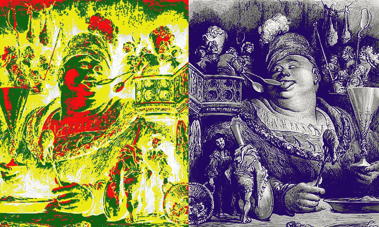 Gargantua par SKI Stef Kervor Infographie pour Eden Saga -- d'après : Le souper de Gargantua, par Gustave Doré [Public domain], via Wikimedia Commons - https://commons.wikimedia.org/wiki/File:Gargantua%27s_meal.jpg