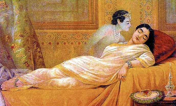 Usha dreaming of Aniruddha -- By Raja Ravi Varma - http://www.museumsyndicate.com/item.php?item=25568, Public Domain, https://commons.wikimedia.org/w/index.php?curid=15010234