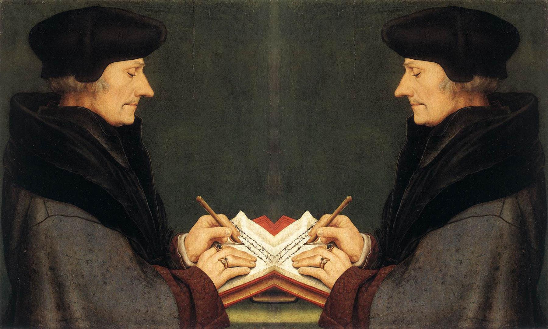 Paix d'Erasme, par SKI Stef Kervor Infographie pour Eden Saga, d'après : Holbein-erasmus2, Par Hans Holbein le Jeune — http://www.wga.hu/art/h/holbein/hans_y/1525/06erasmu.jpg, Domaine public, https://commons.wikimedia.org/w/index.php?curid=2320