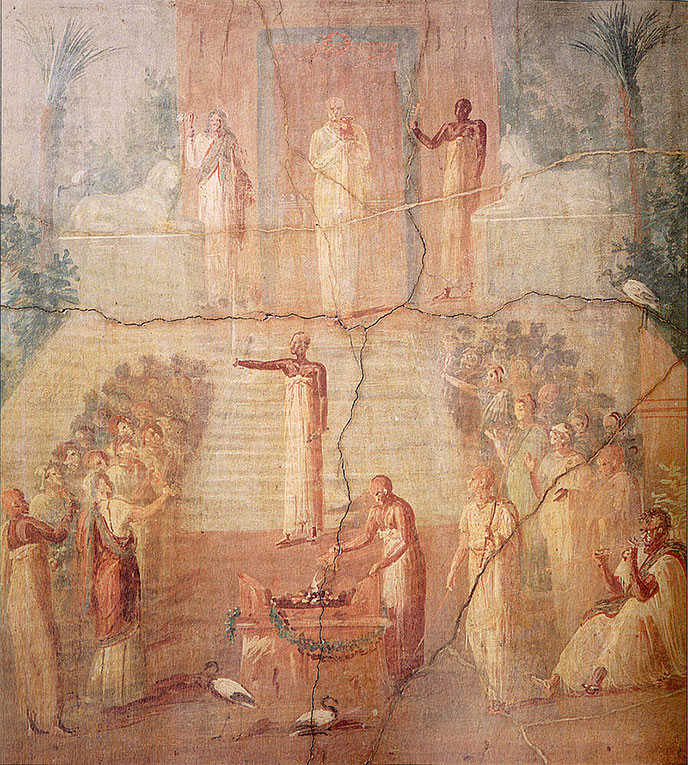 Fresque isiaque, Herculanum -- « Isiac water ceremony » par Inconnu — What Life Was Like When Rome Ruled the World, Time-Life Books, 1997. Sous licence Domaine public via Wikimedia Commons - https://commons.wikimedia.org/wiki/File:Isiac_water_ceremony.jpg#/media/File:Isiac_water_ceremony.jpg