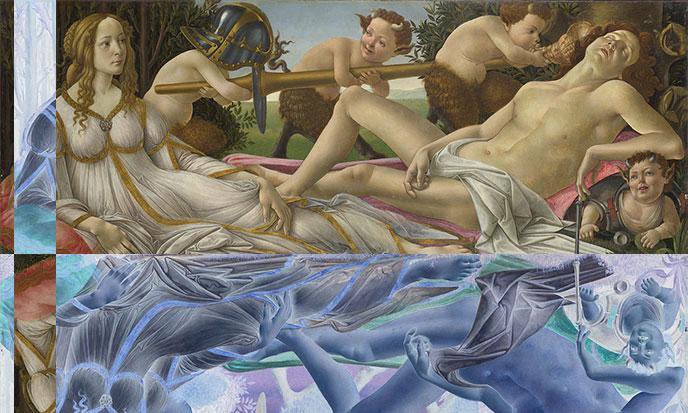Vénus et Mars, Boticelli, courtesy of National Gallery, UK - Uploaded by Crisco 1492 -- Domaine Public ---- modifié par Stef Kervor pour Eden Saga